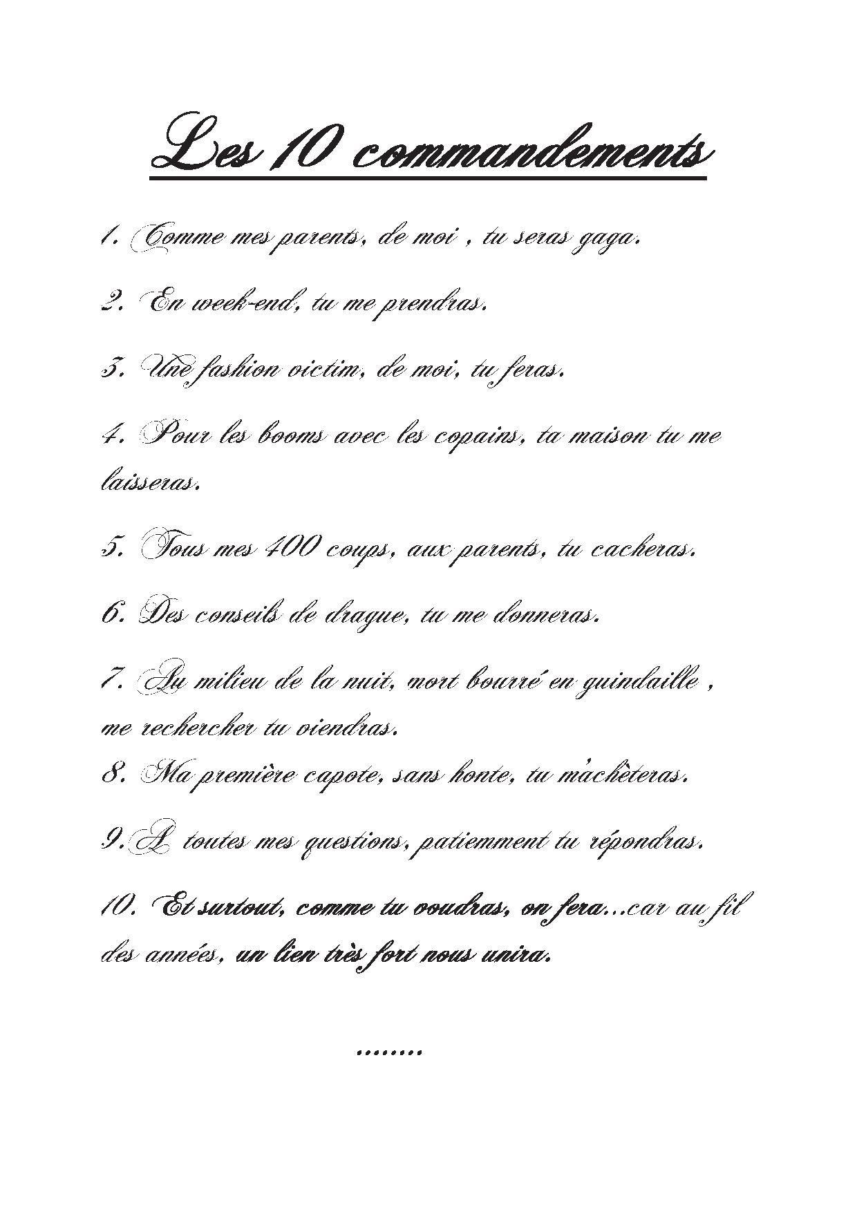 Super Les 10 commandements pour la marraine de notre filsarrangés à  AI73