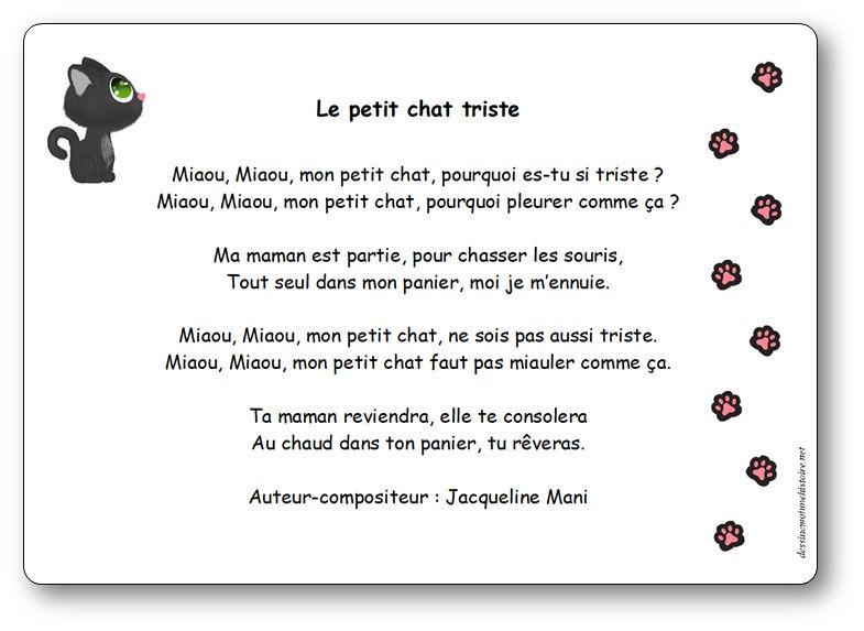Le Petit Chat Triste Une Chanson De Jacqueline Mani Paroles