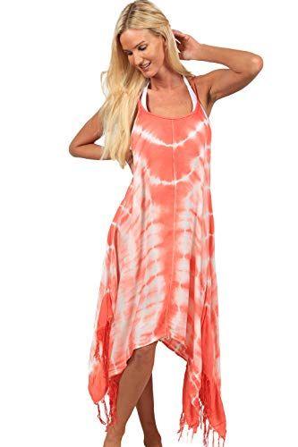 a9ca00ac647 INGEAR Handkerchief Dress Summer Cover Up Spaghetti White Flowy Loose  Sundress