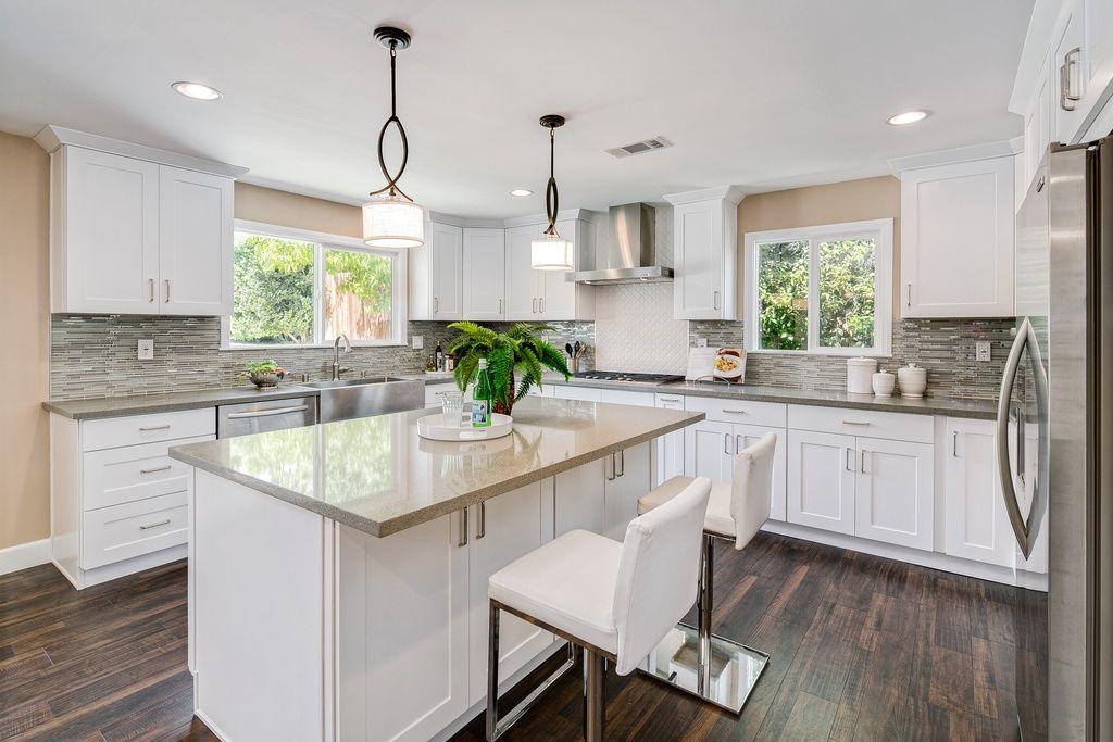 Kitchen Ideas U Shaped contemporary kitchen with ceramic tile, u-shaped, pendant light