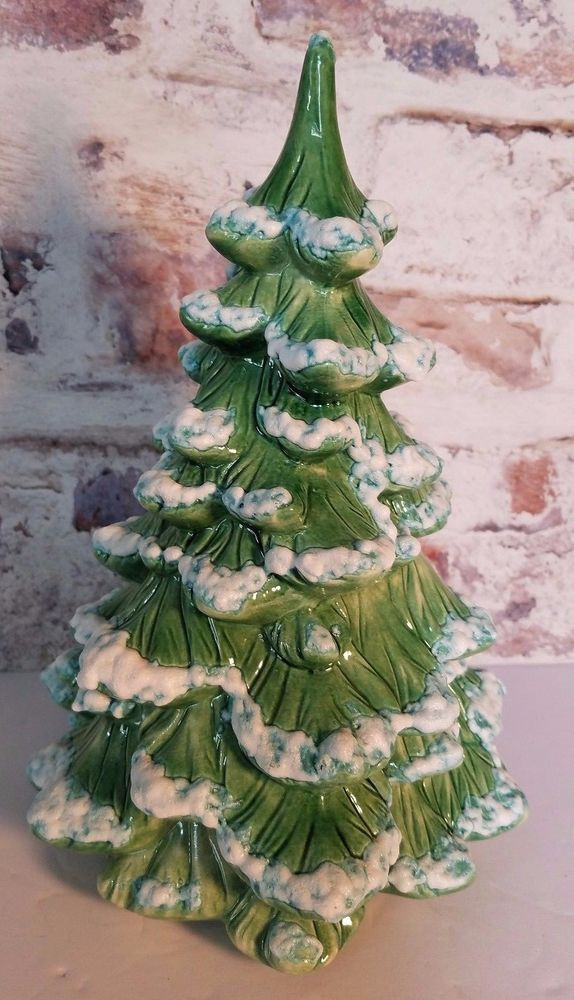 Vintage Ceramic Snow Tipped Holland Mold Christmas Tree Flocked 10in - Vintage Ceramic Snow Tipped Holland Mold Christmas Tree Flocked 10in