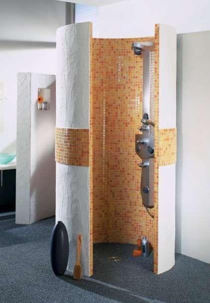 Verarbeitung Wediplatten Fliesenbauplatten Runddusche Freistehend