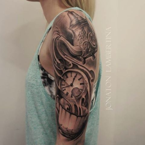 Beautiful alice in wonderland tattoo clock and teapot for Tattoo amsterdam walk in