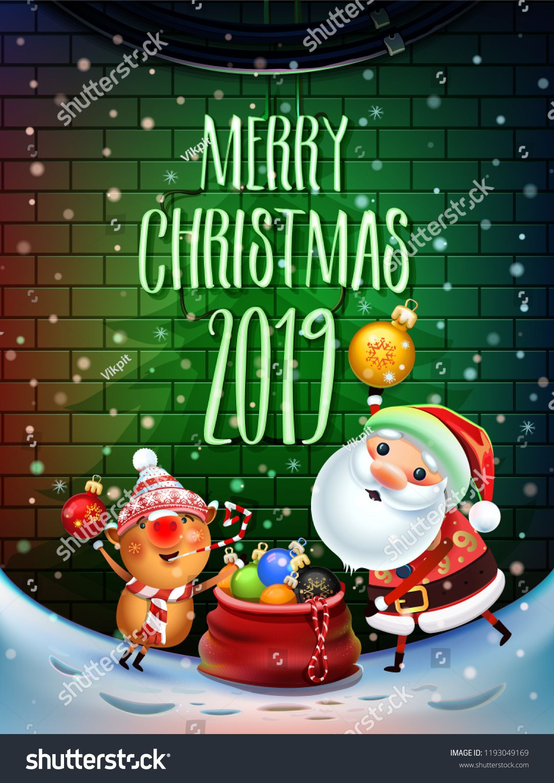 2019 Merry Christmas and New Year symbol. Santa Claus on a