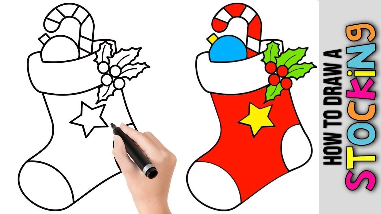 Christmas Stocking Drawing Easy.How To Draw A Christmas Stocking Cute Easy Drawings