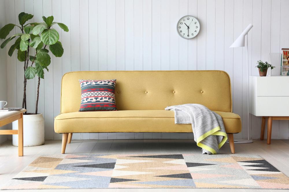 Sofa Rozkladana Dla Dwoch Osob Zolta Scandi 8581803554 Oficjalne Archiwum Allegro Sofa Home Decor Home