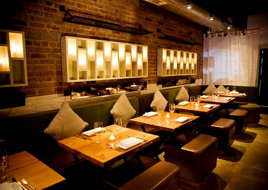 contemporary decor restaurant wall lighting interior design