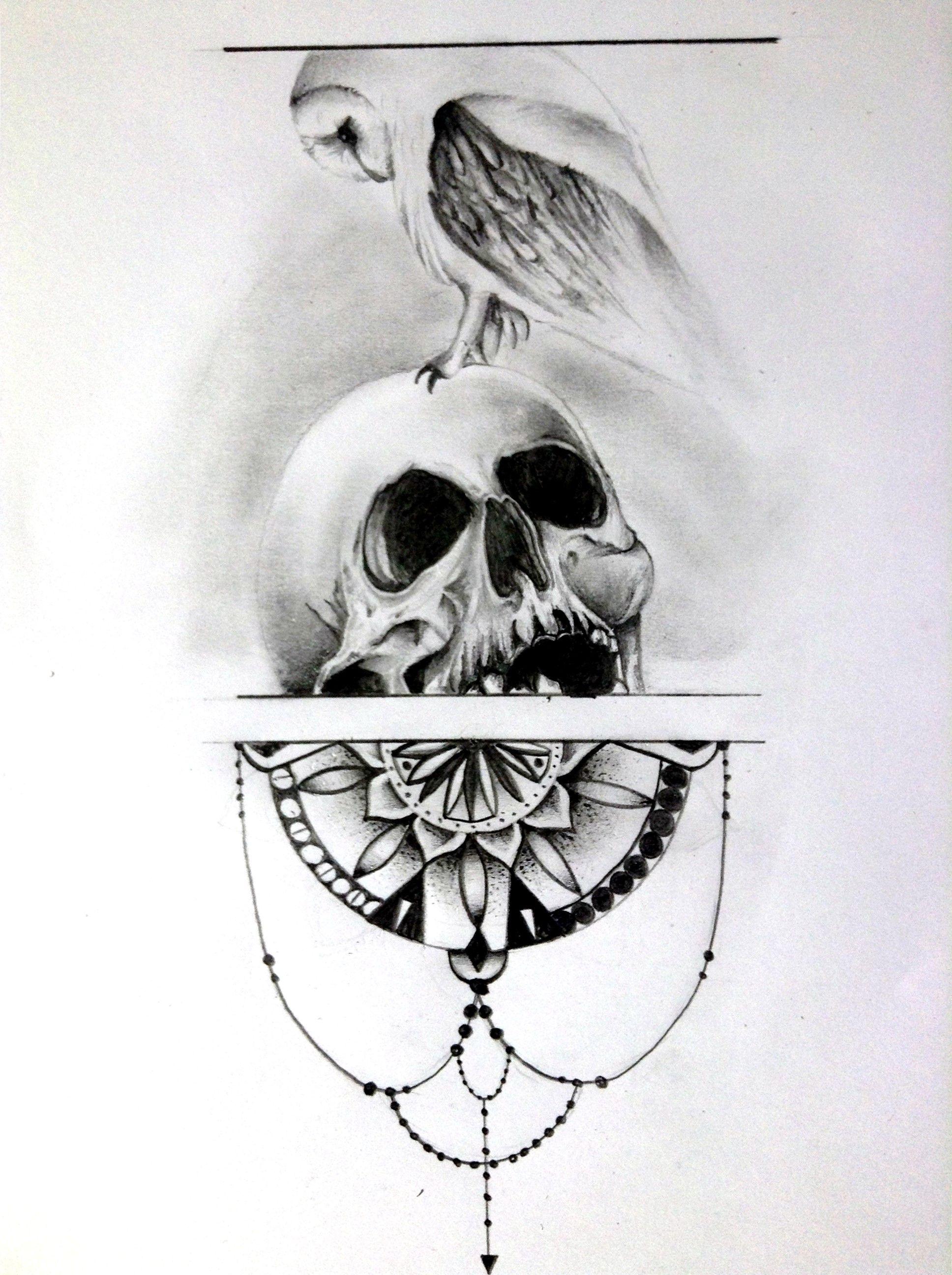 Owl Skull And Mandala Sketch | tattoo ideas | Tattoo ... - photo#13