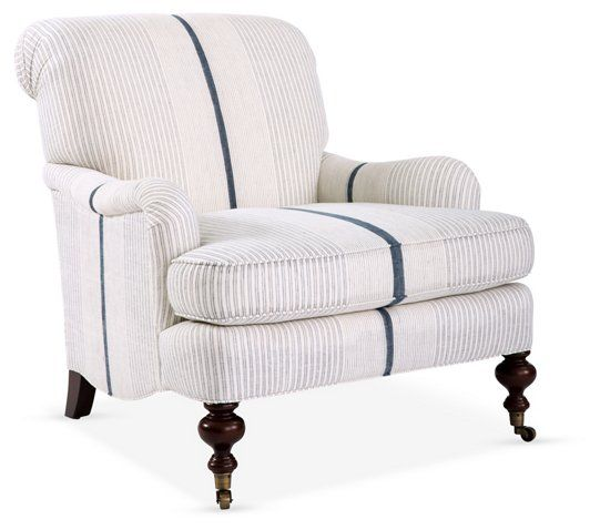 Chatsworth Accent Chair, White/Navy | Luxury chairs ...