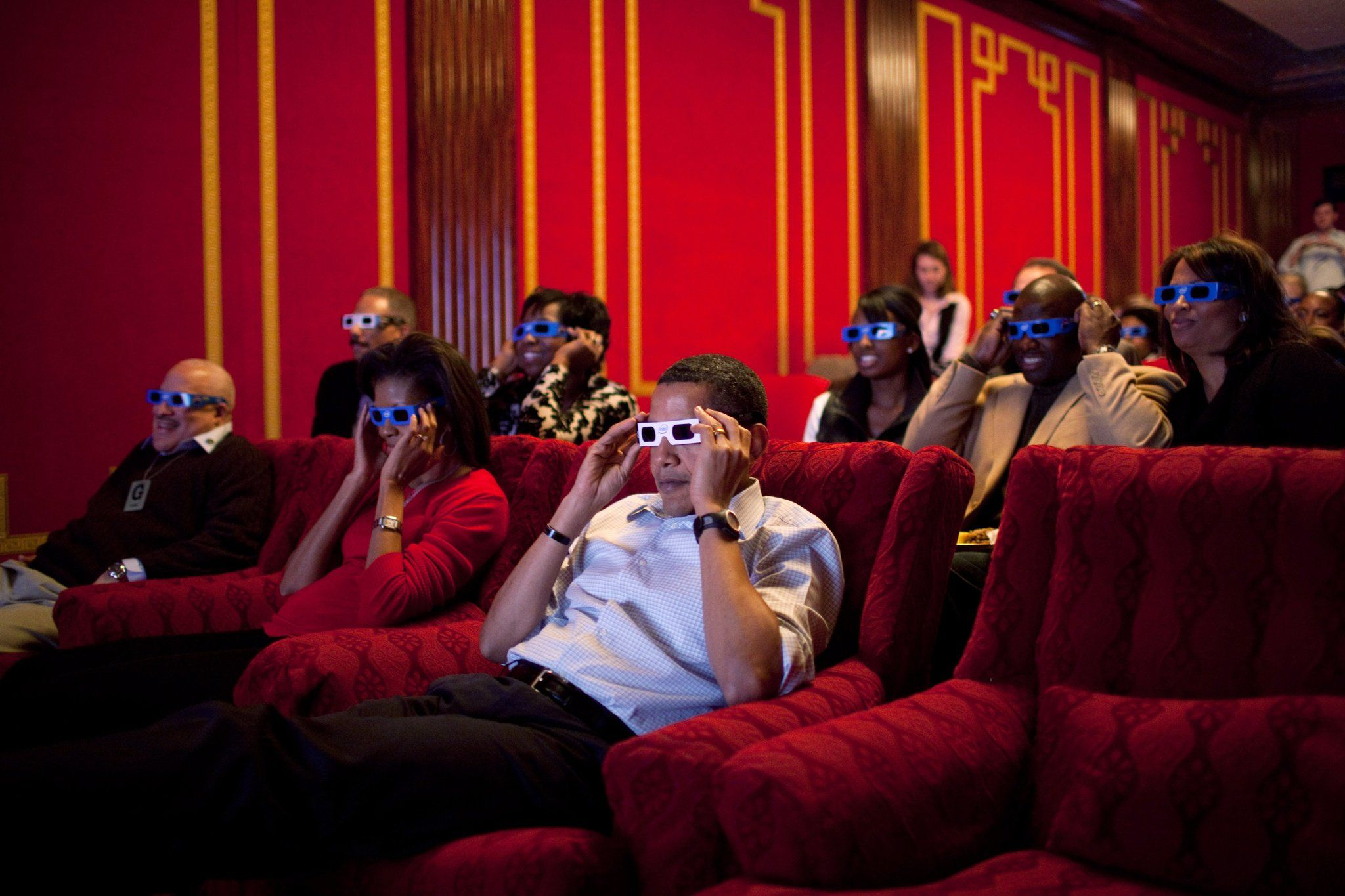 Watching the Super Bowl in 3D at the White House in 2009.