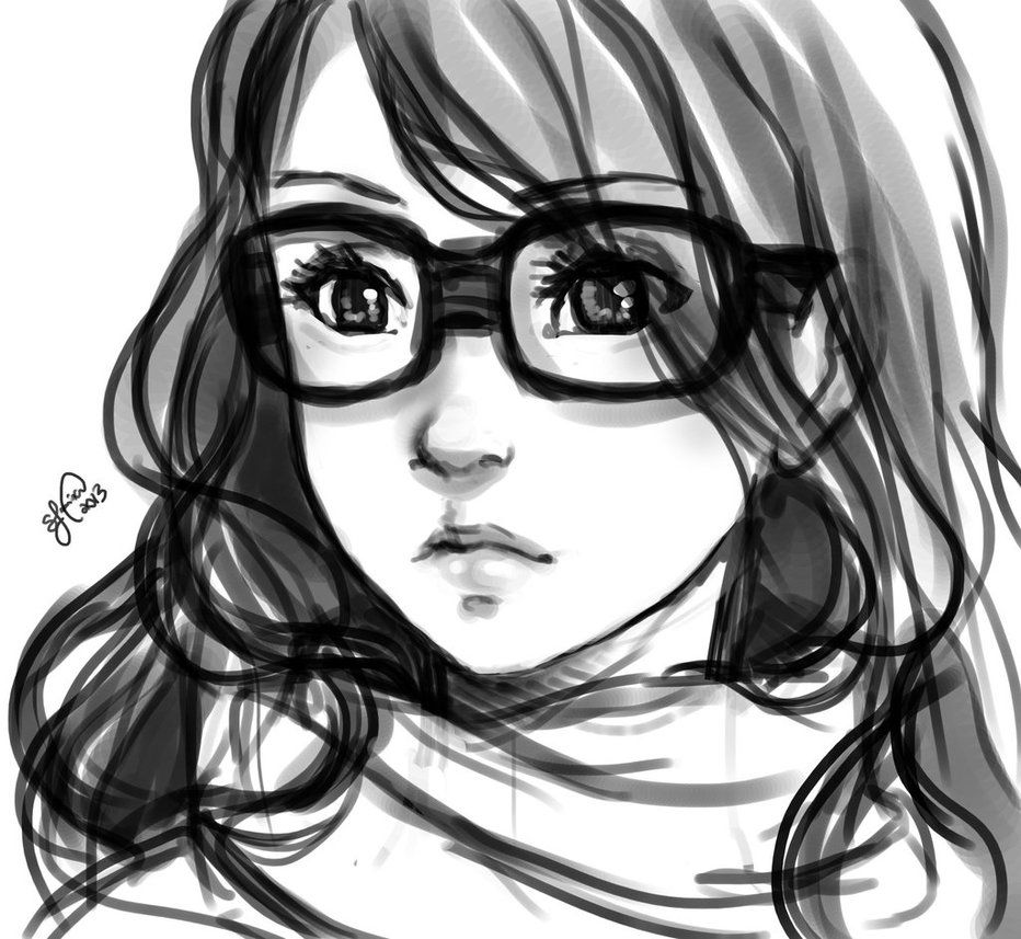 Cute Girl Glasses Drawings Girl With Glasses Sketch By Lukia
