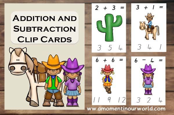 Free Cowboy And Cowgirl Addition And Subtraction Clip