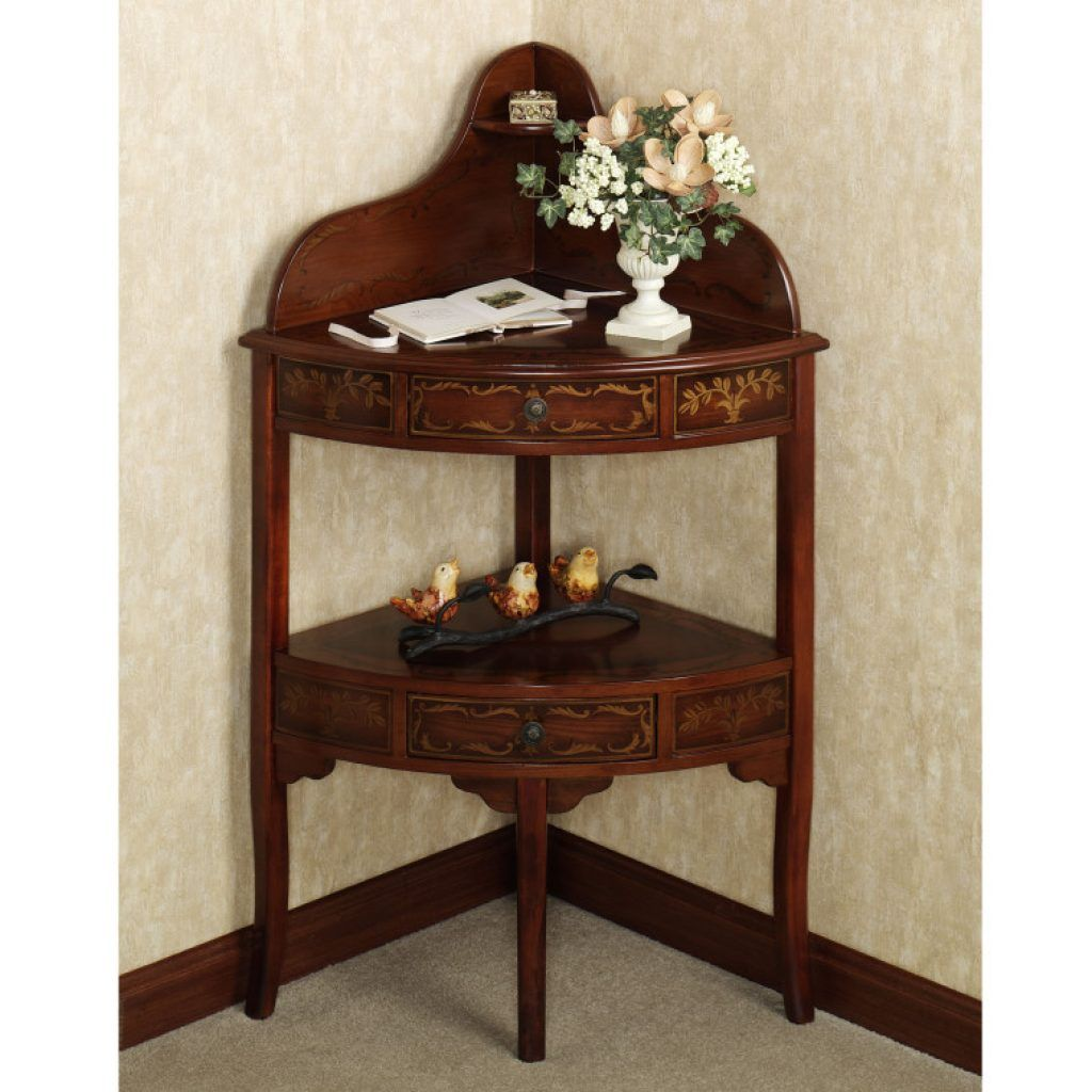 Amazing Brown Varnished Oak Corner Accent Console Table With Drawers And  Shelves As Well As Console