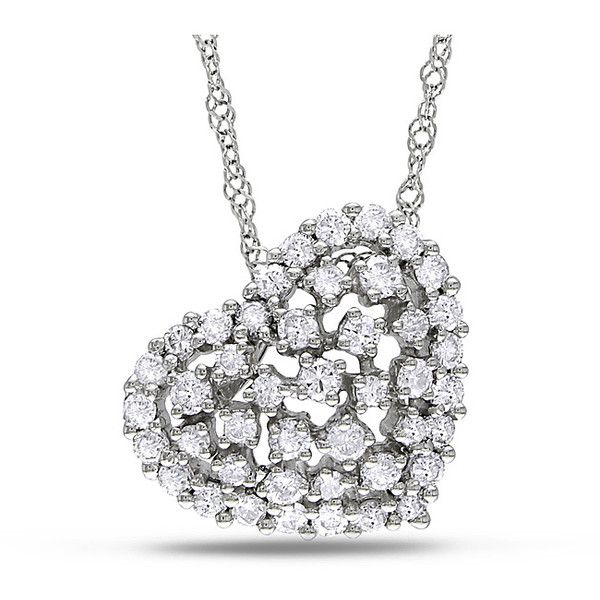 Miadora 14k White Gold 1/2ct TDW Diamond Heart Necklace ($792) ❤ liked on Polyvore featuring jewelry, necklaces, white, diamond necklaces, heart pendant necklace, long pendant necklace, pendants & necklaces and diamond heart pendant