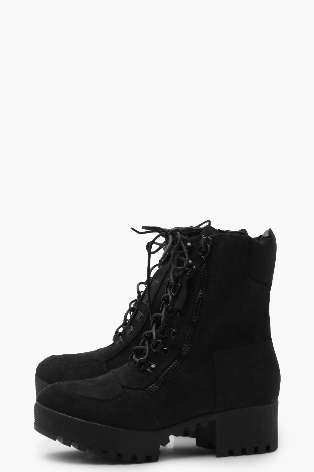 Chunky Zip And Lace Up Combat Boots