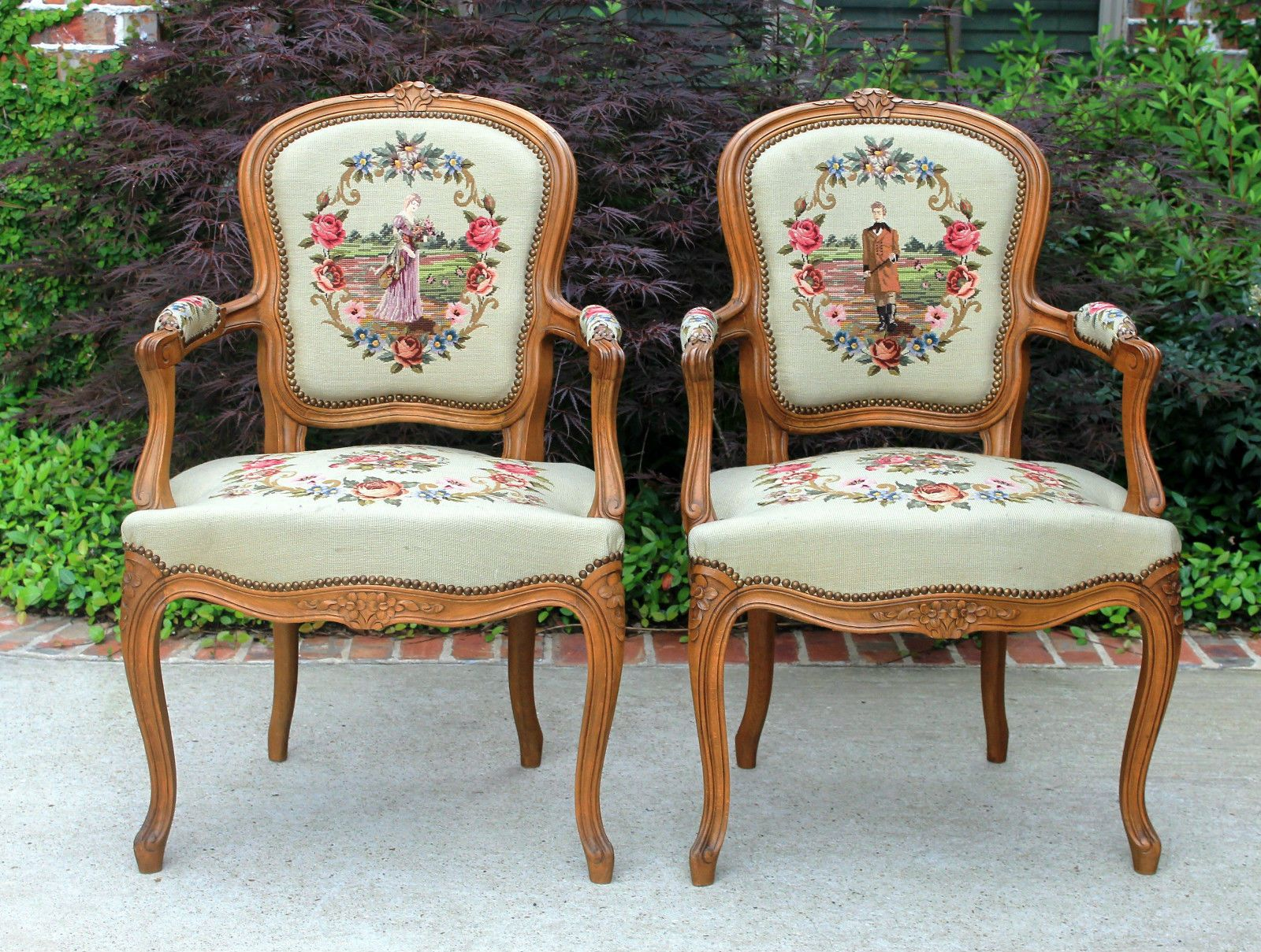 Exceptional Antique French Provincial Pair 2 Walnut Needlepoint Tapestry Accent Chairs  | EBay