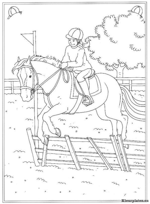 Kleurplaat Meisje Met Paard Pin Van Pal Op Coloring Kids Kleurplaten Kleuren En Paarden