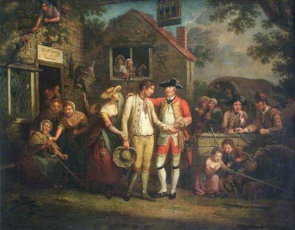 Collett, The Recruiting Sergeant, 1767 Note the two men behind the seargeant's elbow, both wearing knit caps