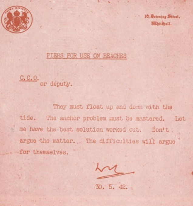 Piers For Use On Beaches  Winston Churchill Memo  Interesting