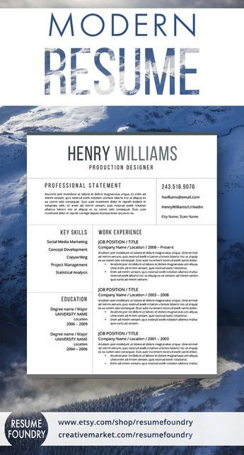 Modern resume template, includes one, two or three pages, cover - job reference template