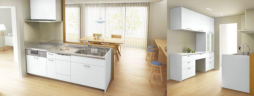 色は優しい色合いの木目がいいです Lixil キッチン シエラ 施工イメージ オープンキッチン 壁付i型 Plan5 2020 オープンキッチン 壁 レンジフード