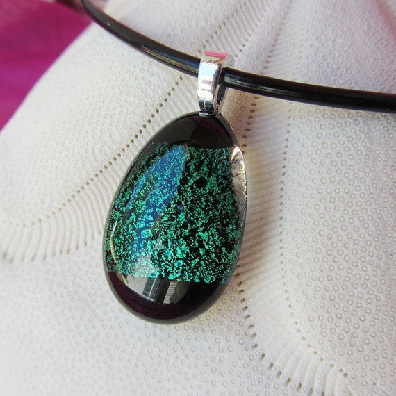 Emerald Green and Black Glass Pendant by KatherineReillyGlass, $22.00