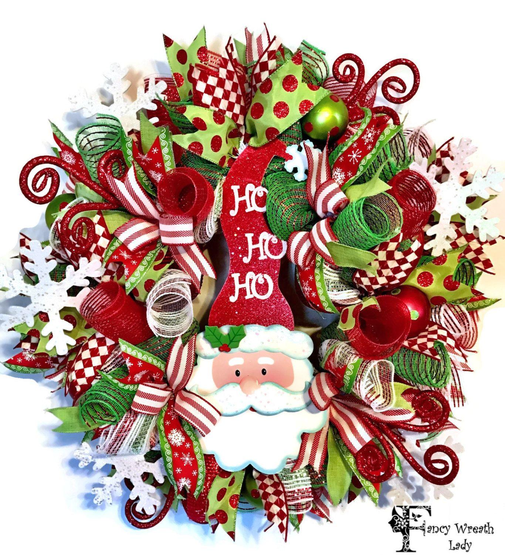 christmas front door clipart. SANTA Claus Deco Mesh Wreath, Whimsical Santa CHRISTMAS WREATH, Xmas Front Door Wreath,Christmas Decoration, Winter Ready To Ship By FancyWreathLady Christmas Clipart
