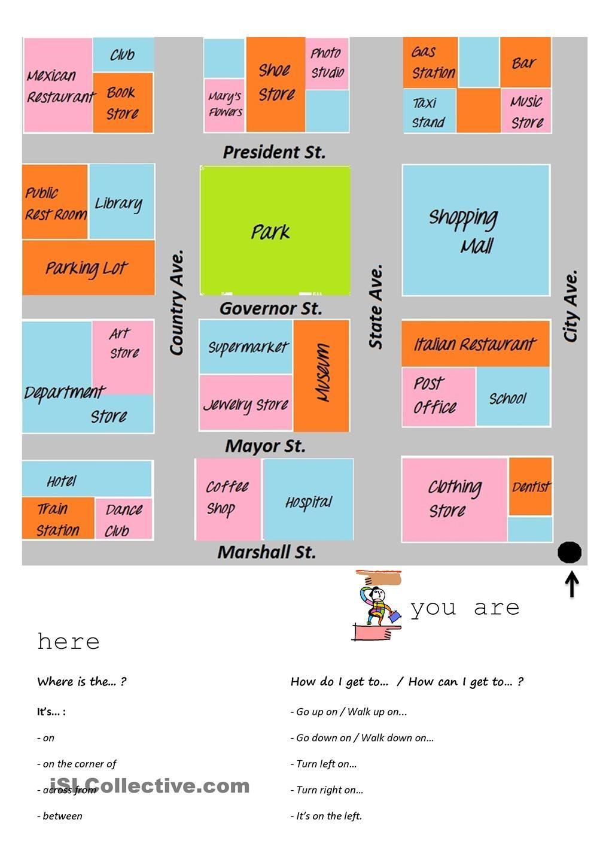 giving directions esl pinterest worksheets printable worksheets and teaching ideas. Black Bedroom Furniture Sets. Home Design Ideas