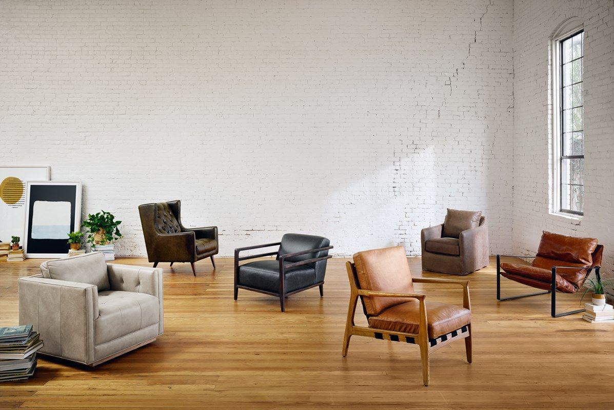 Four Hands Kiera Leather Swivel Chair Barry Chair Callaway