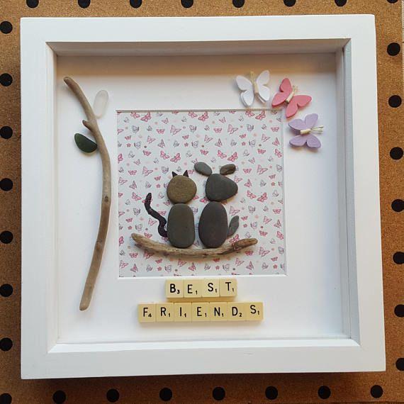 Best Friends. Quirky handmade pebble art frame, best friends cat and ...