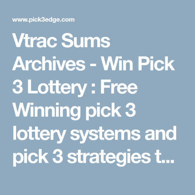 Vtrac Sums Archives - Win Pick 3 Lottery : Free Winning pick 3