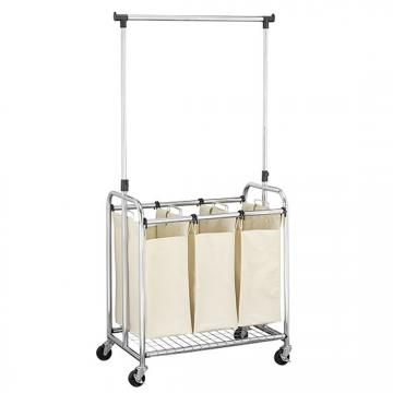 Chrome Triple Laundry Cart With Removable Hanging Bar