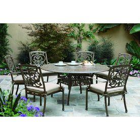 Darlee Santa Barbara 7 Piece Mocha Aluminum Patio Dining Set With