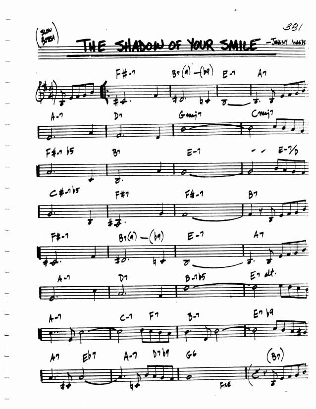 Jazz Standard Realbook chart SHADOW OF YOUR SMILE | Sheet Music in