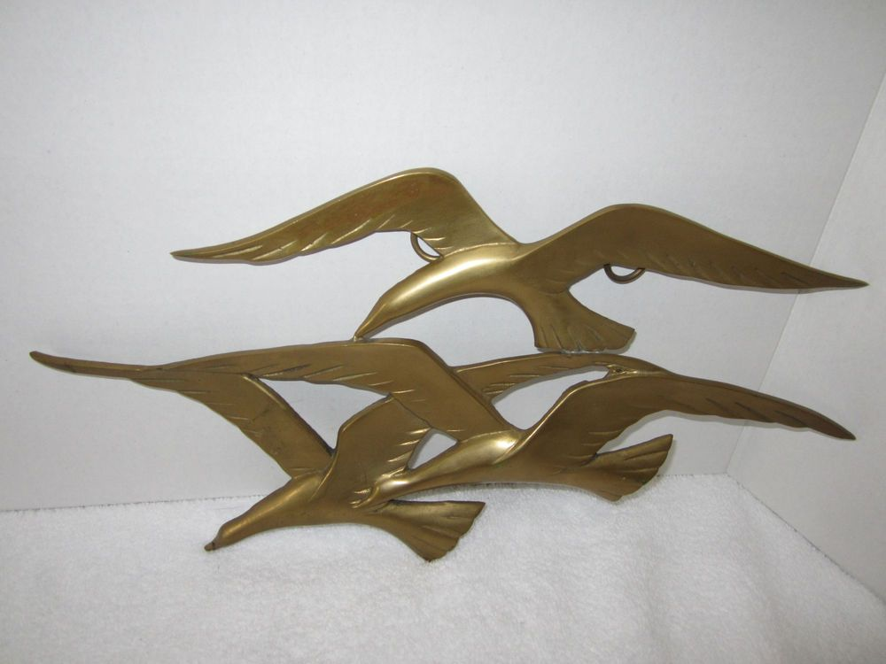 Mid Century Wall Decor mid century solid brass birds in flight wall decor-made in taiwan