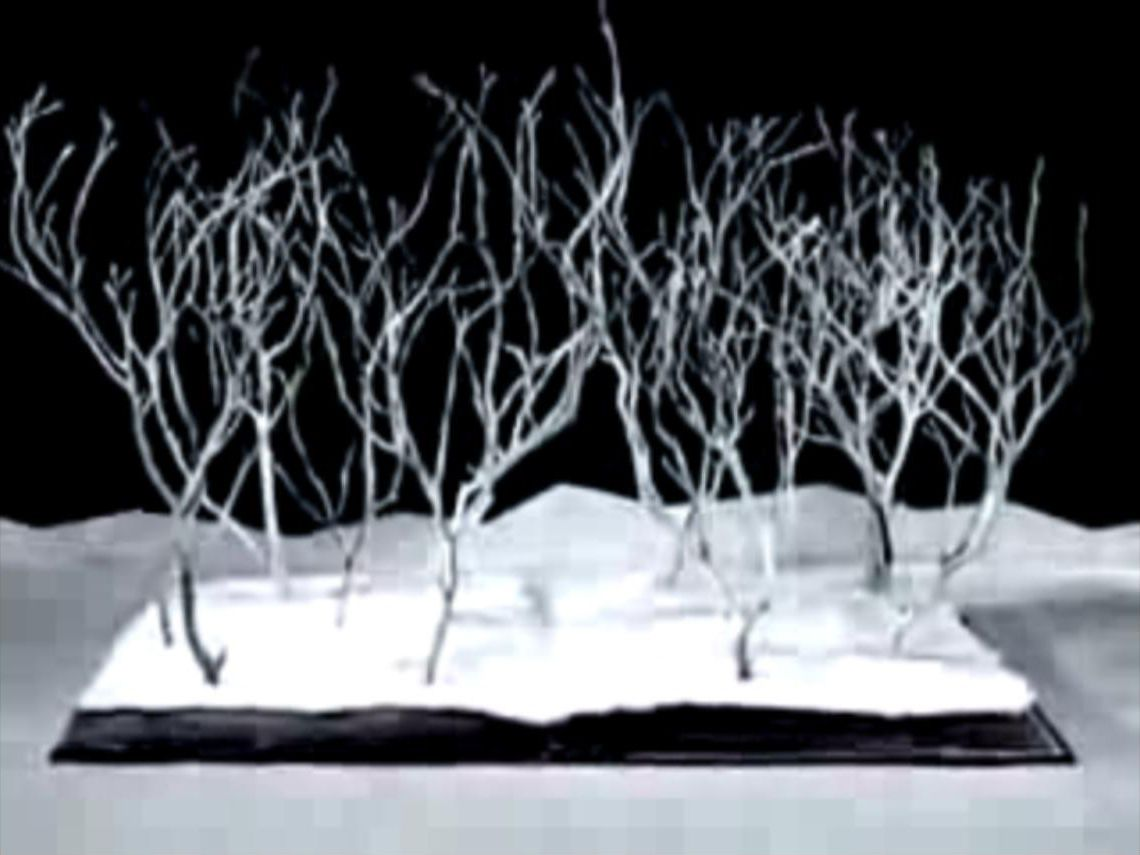 Animation Reference: Trees growing from books. Non-literal, theatrical visual language.