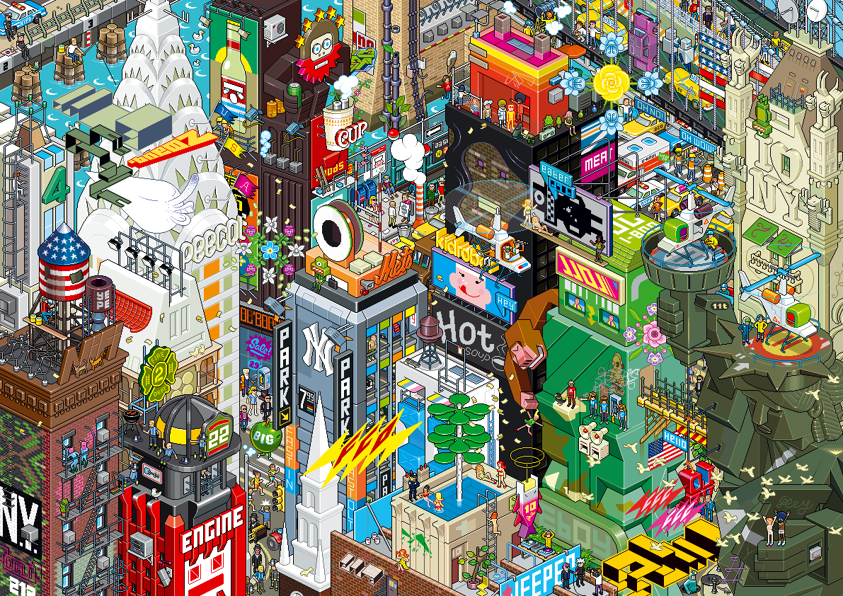 Detailed 8 bit pixoramas of famous cities design art for Poster mural geant new york
