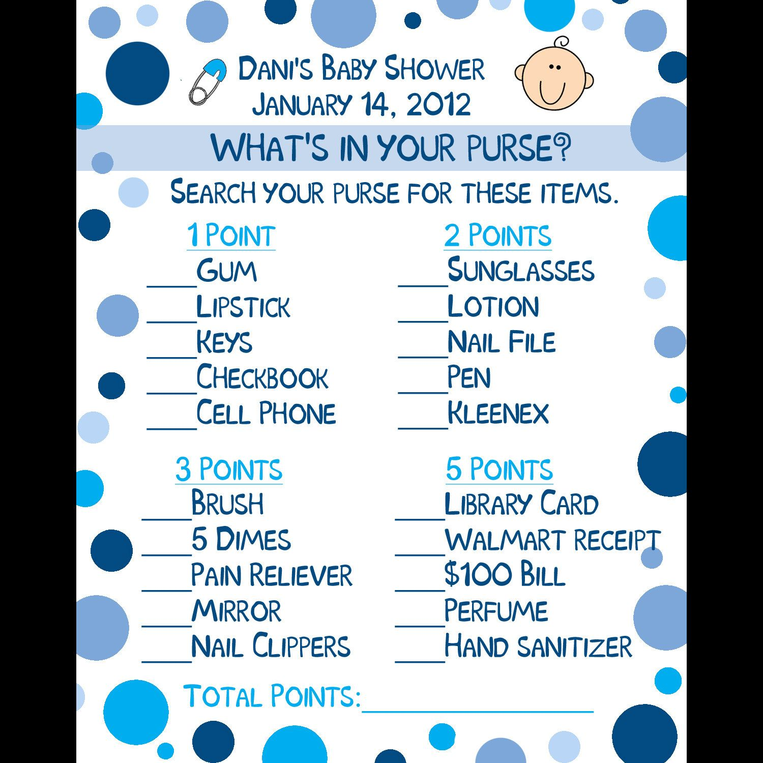 24 Personalized Baby Shower Game Cards What s in Your Purse Game