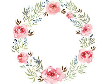 Watercolour Rose Flower Wreath Clip Art Digital Download Png Vector Ai High Resolution Watercolor Flower Illustration Wreath Clip Art Floral Wreath Watercolor