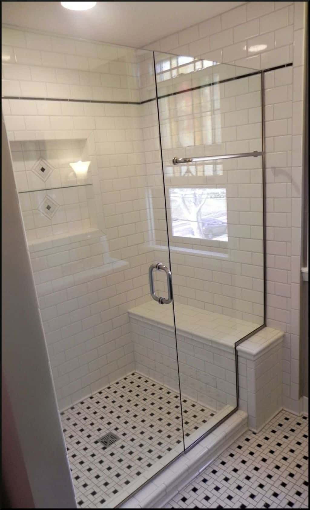 Shower stall with seat and subway tiles bathroom shower stalls with seats
