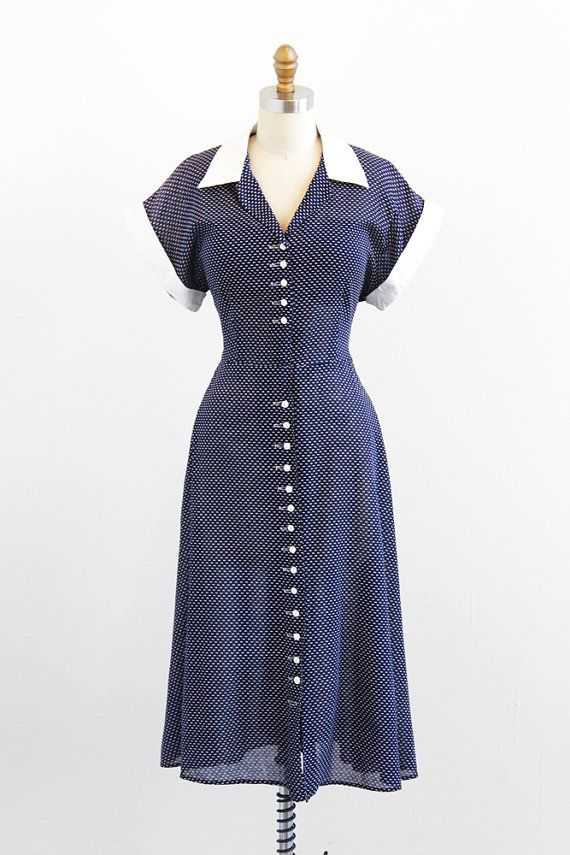 r e s e r v e d - vintage 1940s dress / 40s dress / Blue and White ...