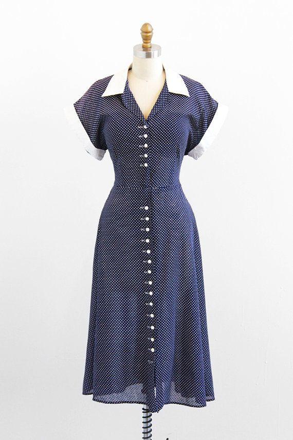 r e s e r v e d - vintage 1940s dress / 40s dress / Blue and White ...