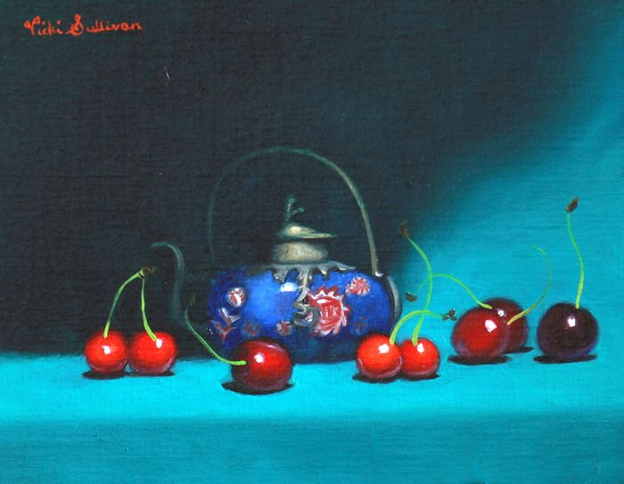 https://flic.kr/p/BPNutt | Teapot and cherries by Vicki Sullivan | Cherries#Teapot#cupoftea#chineseteapot#Summerfruit#slowfood#organicgarden#stilllifepainting#oilonlinen#Australianartist#Melbourneartist#Melbournesocietyofwomensculptorsandpainters