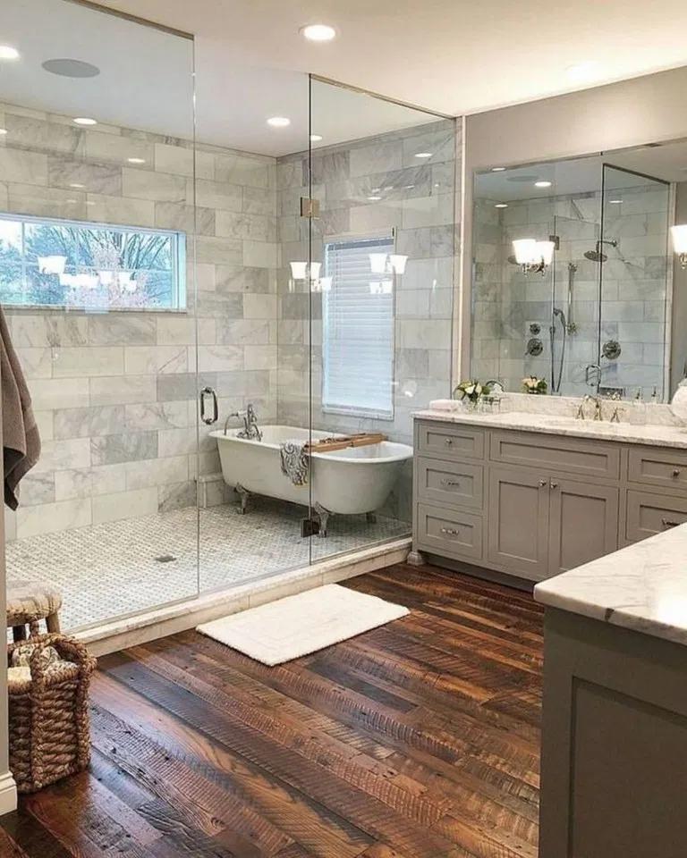 43 Best Farmhouse Master Bathroom Remodel Ideas 2020 Best Dream Home Bathroom Tub Shower Bathroom Tub Shower Combo Farmhouse Master Bathroom