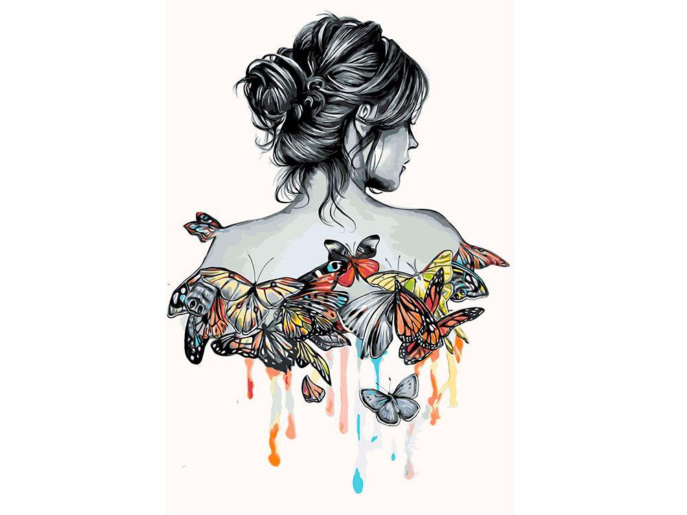 Картина по номерам «Девушка в бабочках» | Картины ...