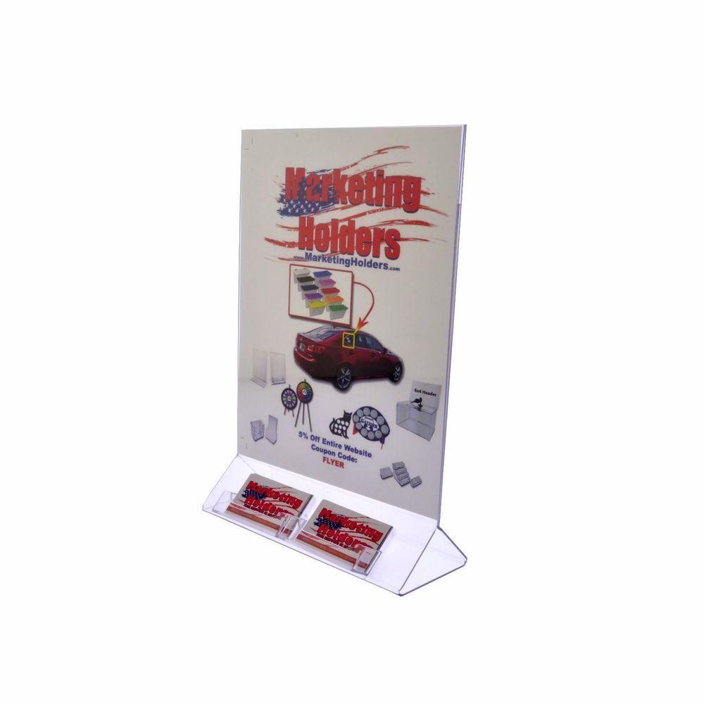 Large Notice Stand Holder Display Frame with 2 attached Business ...