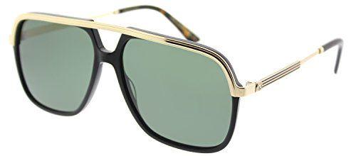 f0ddaafdcc7 Gucci Black Gold Square Pilot Sunglasses Lens Category 3 Clout Wear ...