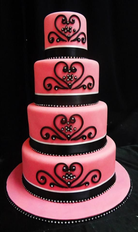 Elegant pink and black wedding cake www.cakeaters.com | A World Full ...
