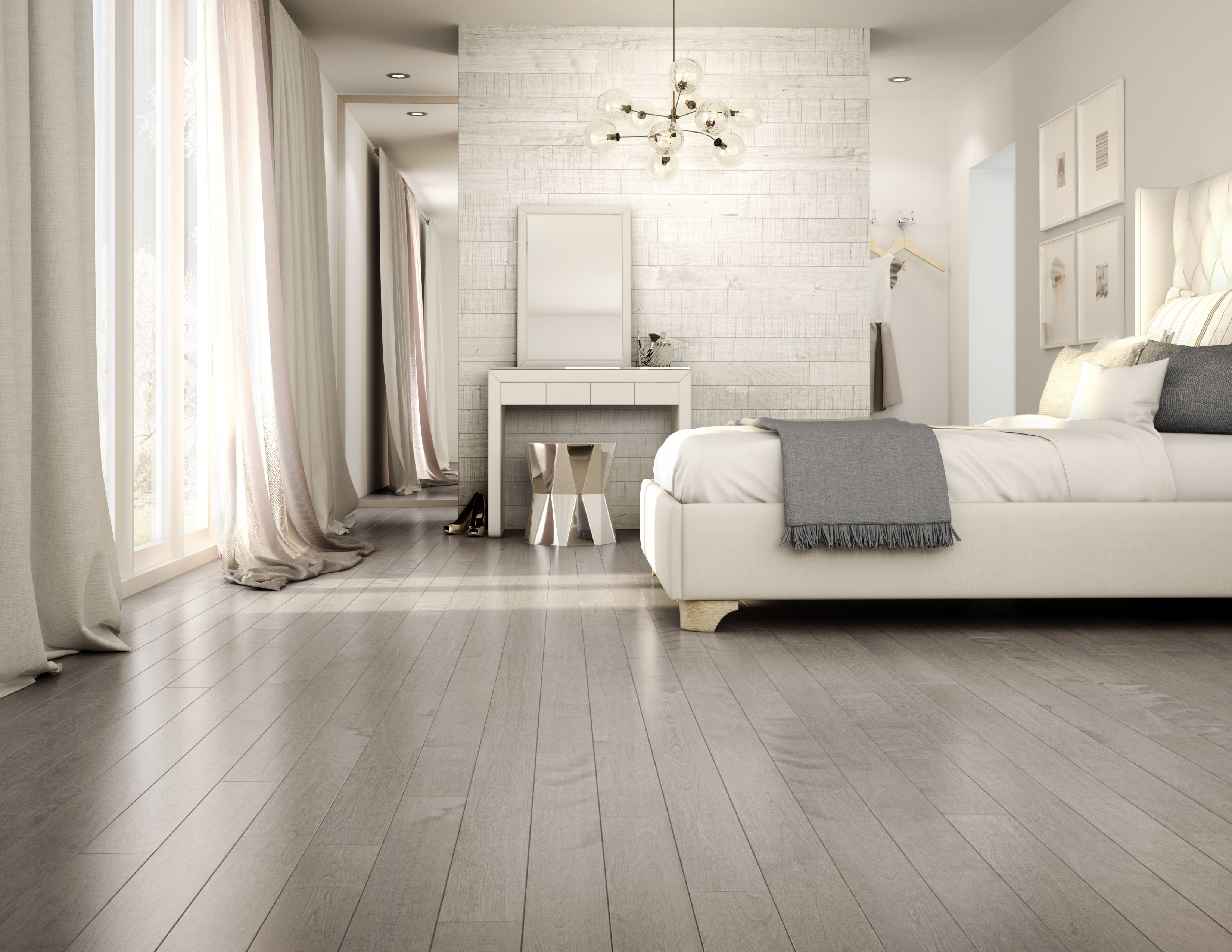 Calm and peaceful bedroom Preverco hardwood floors On