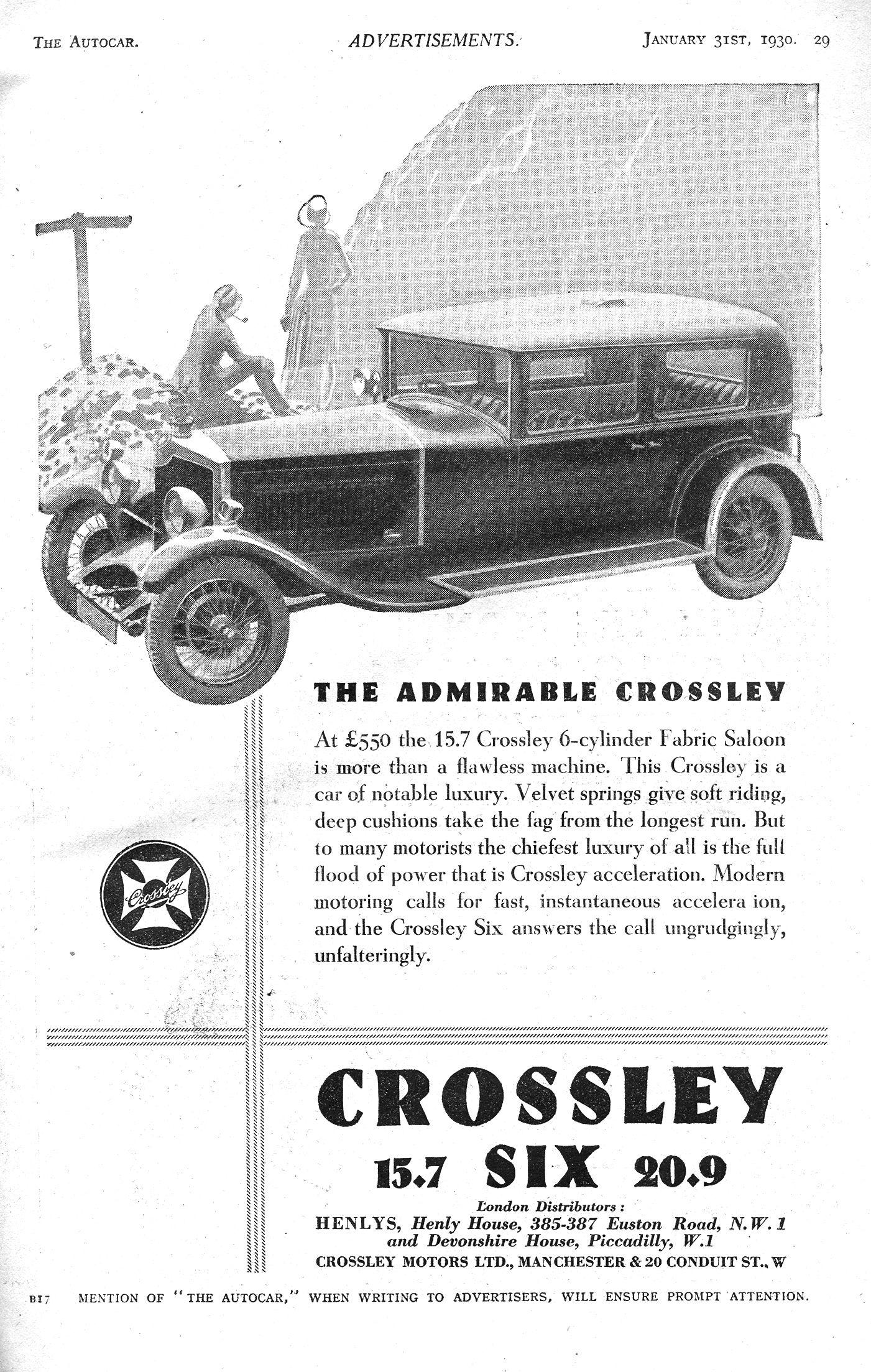 Crossley Car Autocar Advert 1930 - Super Six, 20.9hp & 15.7hp ...